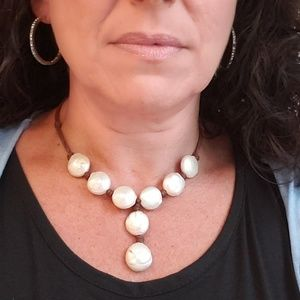Wendy Mignot leather and pearls